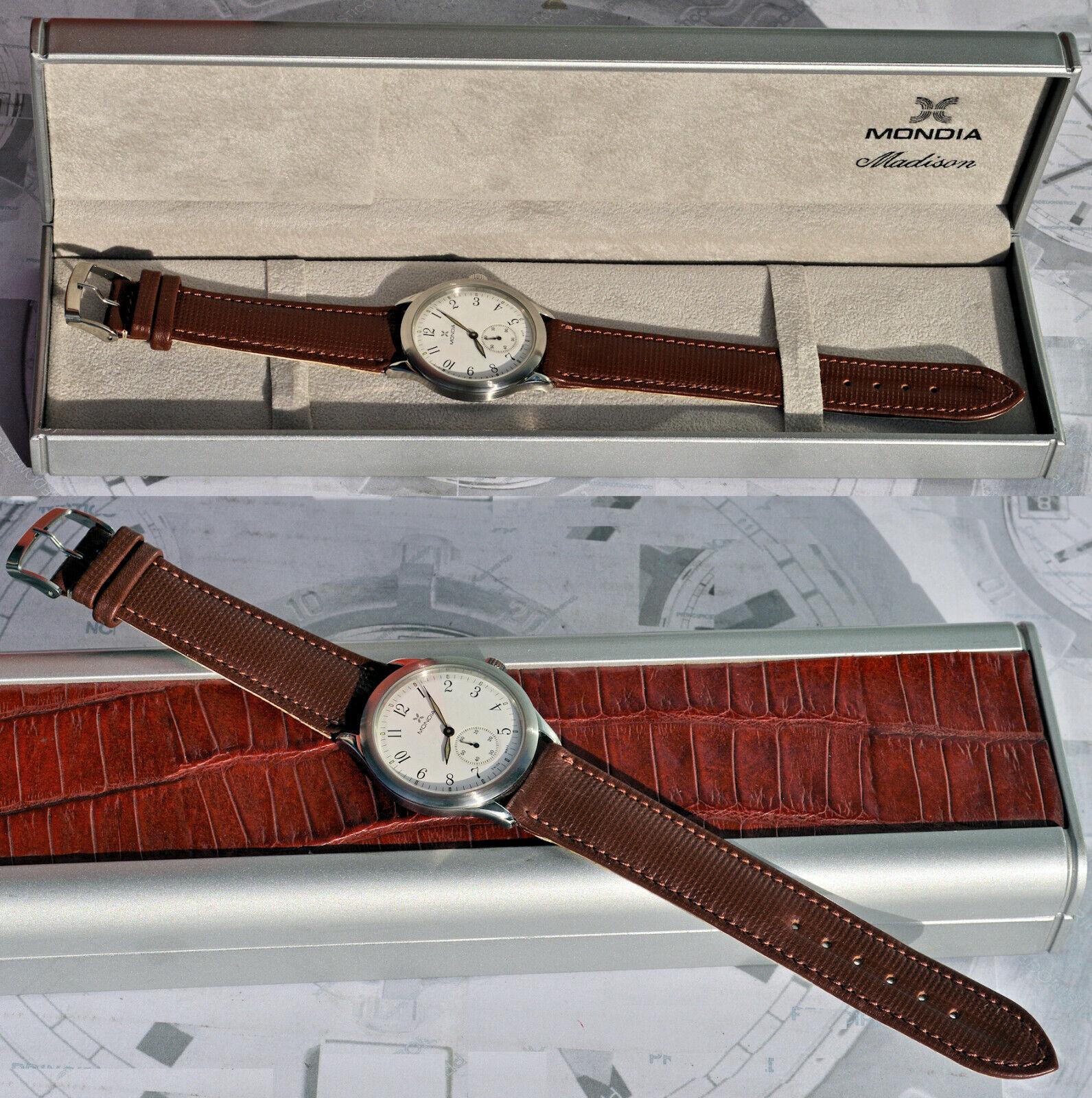 Sehr Selten Armbanduhr Mondia Stahl 37 Mm. Extra Flach Gehäuseboden Glas Zahlen