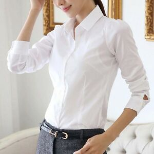 Women-White-OL-Career-Business-Lapel-Long-Sleeve-Solid-Button-Shirt-Blouse-Tops