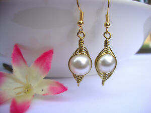White-Freshwater-Pearl-Earrings-Gold-Wire-Wrapped-Herringbone-Style-USA-HANDMADE