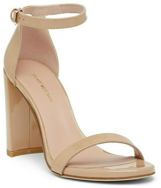 430 Stuart Weitzman Walkway Adobe Aniline Leather Block Heel Sandal Size 9
