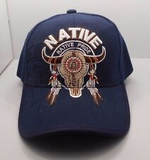 Native Pride Buffalo Skull & Feathers Ball Cap Hat in Blue New H31