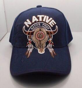 12219860191fa Native Pride Buffalo Skull   Feathers Ball Cap Hat in Blue New H31 ...