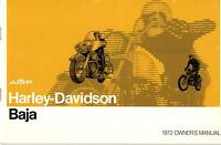 1972 Harley Davidson Motorcycle Baja Owner's Manual P/n 99467-72 (458)