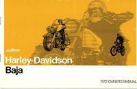 1972 Harley Davidson Motorcycle Baja Owner's Manual P/n 99467-72 (458)
