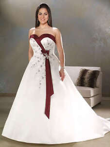 Details about White/Ivory&Burgundy/Purple Plus Size Wedding Dress Bridal  Gown Stock Size:18~28