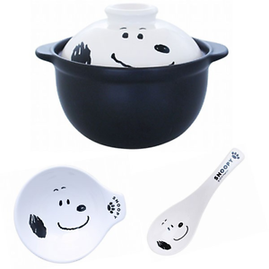 Made in Japan Snoopy Earthen pot /& Earthen pot dish /& spoon set Bowl NEW