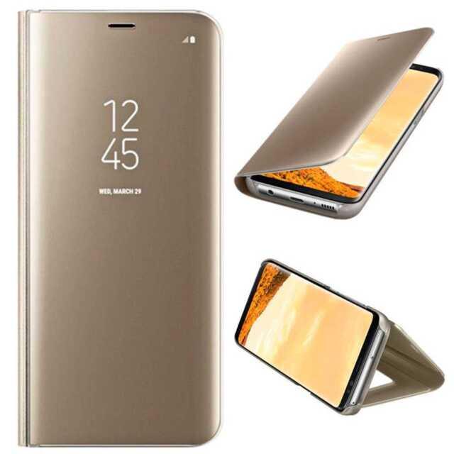 Azul Funda 360 Flip Vista Inteligente Libro Espejo para Samsung Galaxy S8 Plus