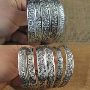 Elephant-Tibetan-Tibet-Silver-Totem-Bangle-Cuff-Bracelet-Women-Retro-Jewelry