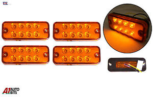 4x-24-VOLTS-ORANGE-marquage-lateral-Feu-clignotant-Lampes-Camion-LGV