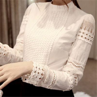 New Women's casual Long Sleeve Lace Hollow Out Blouse Top T-Shirt