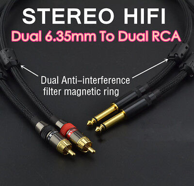 GHWL Dual 1//4 Inch To Dual RCA Audio Cable6FT Male 6.35mm 1//4 Phono Mono to RCA