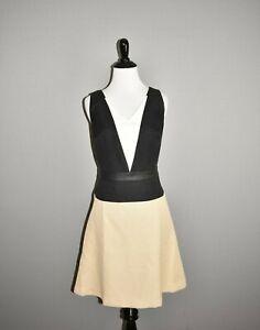 ANN-TAYLOR-140-Colorblock-Sleeveless-A-line-Dress-Faux-Leather-Trim-Size-6P