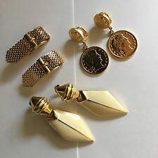Lot Of 3 Vintage Costume Clip On Earrings Clip-Ons Gold Tone