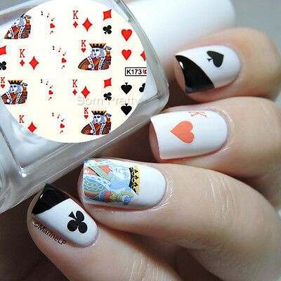 Nail Art Water Decals Transfer Stickers King Spade Heart Club Cards DIY Tips