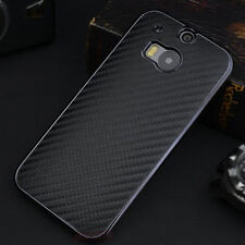 Premium New Black Luxury Carbon Fiber Leather Back Case Cover For HTC One M8