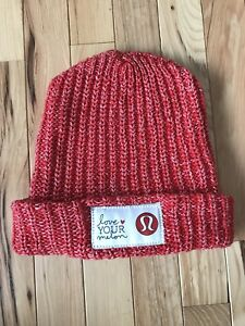 Love Your Melon LYM Lululemon Limited Edition Red Cuff Beanie Hat ... 5f11162ad38