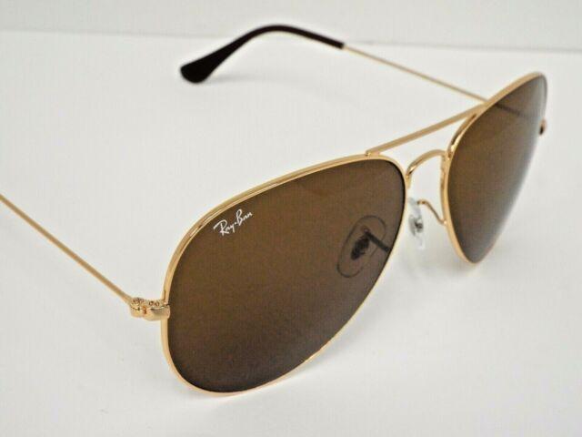 NEW Ray-Ban RB 3025 001/33 Gold Brown Classic B-15 Aviator 62 mm Sunglasses $193
