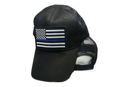 Militare Nero Operatore Mesh Cappello Regolabile W/sottile Linea Blu Usa Patch