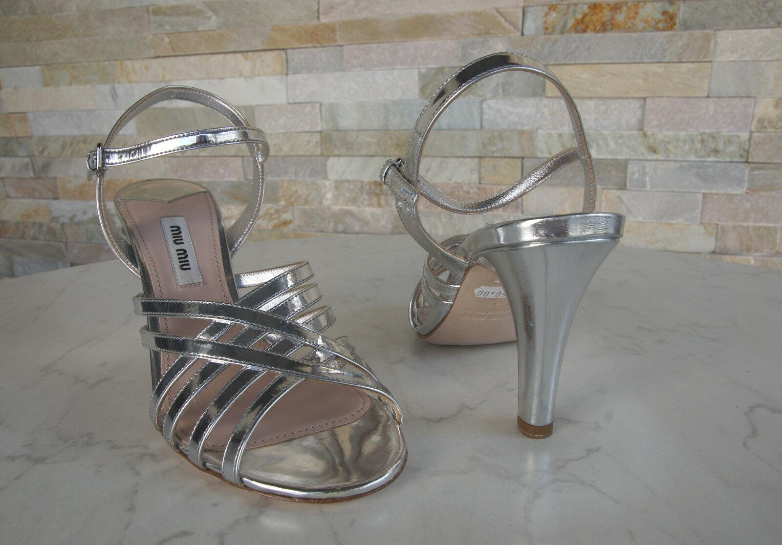 Luxus Sandaletten MIU MIU Gr 37 Sandaletten Luxus High Heels Schuhe silber NEU 1501b9