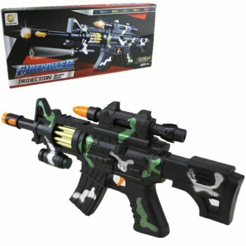 KIDS TOY GUN M4 FIREPOWER WITH FLASHING LIGHTS VIBRATION SOUND CAUSE EFFECT PLAY