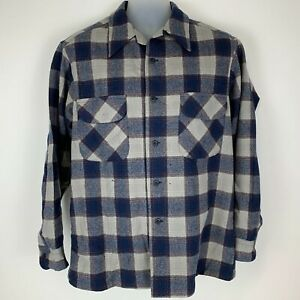 Vintage-Pendleton-Mens-Large-Button-Front-Shirt-Blue-Gray-Plaid-Board-Shirt-USA