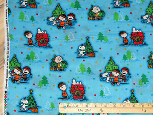 Snoopy Christmas Images.Details About Peanuts Snoopy Christmas Scenic Woodstock Charlie Brown Fabric By The 1 2 Yard