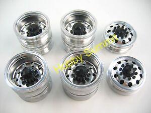A-Set-1-14-R-C-3-Axle-6X4-Tractor-Truck-ALLOY-WHEELS-BLACK-Rims-re-Tamiya