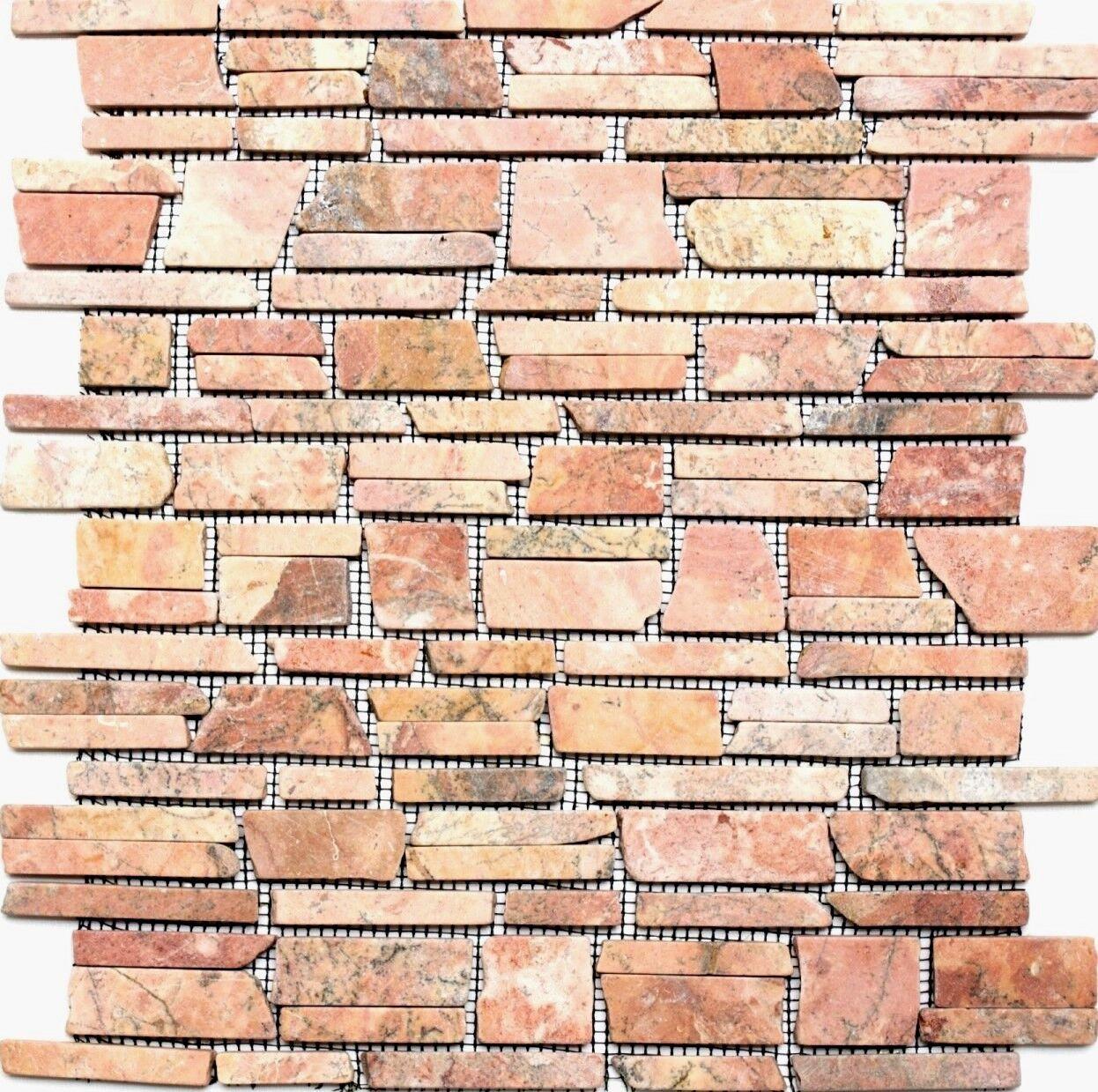 Marmor Verbundmosaik uni rotverona Fliesenspiegel Küche Art 40-0220   10Matten