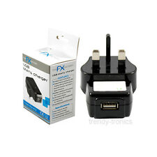 UK USB 3 Pin Wall Mains Charger Ideal For Mobile Phones PDA's  Speakers - Black