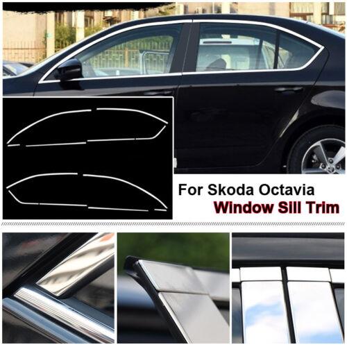 Full Window Frame Molding Sill Trim Cover Stainless Steel For Skoda Octavia 2016