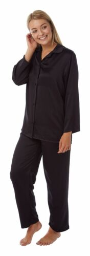 Ladies Plain Black Satin Silky Soft PJs Pyjamas Full Length Long Sleeve
