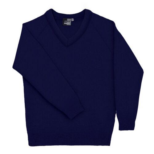 "48/"" Zeco Kids Childrens School Uniform PLAIN Knitted V-Neck School Jumpers 22/"""