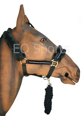Knight Rider Quality Nylon Lunging Cavesson Fluffy Faux Fur Fully Adjustable Cob, Black