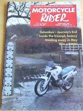 MOTORCYCLE RIDER MAGAZINE MAR/AP 1994 COLUMBUS TRIUMPH FACTORY STEALING AWAY MAY