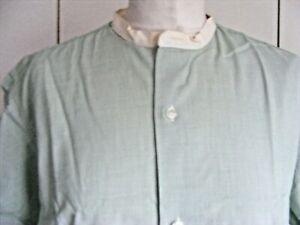 1940s-vintage-collarless-shirt-green-cotton-Van-Heusen-15-1-2-neck-short-sleeve