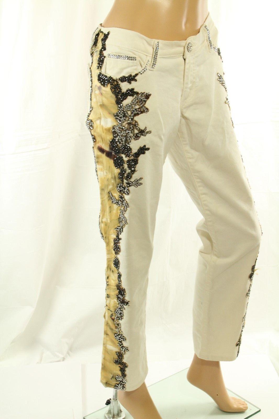 Claudio Milano Damen Jeans Weiß Swarovski Spitze Verziert Größe UK 11