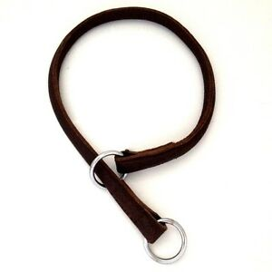 HAND-CRAFTED-ROLLED-LEATHER-CHOKE-CHAIN-COLLAR-DOG-STRONG-BIG-DOG-TOUGH