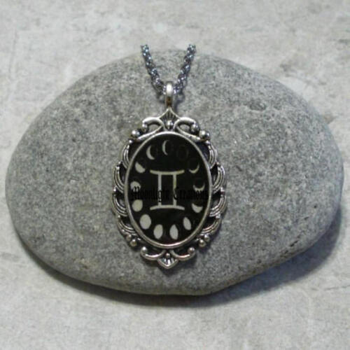 Moon Phase Gemini Pendant Necklace Jewelry Antique Silver