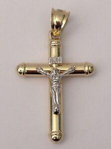 10k yellow White Gold Religious Jesus Crucifix Cross Charm Pendant Unisex Mens