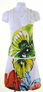 Vestido-de-burbuja-DESIGUAL-para-mujer-Talla-10-en-Blanco-Floral-Algodon-GQ10