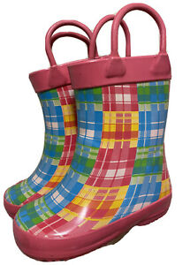 Capelli Kids Girls Pink Plaid Print Rubber Rain Boots Us 6