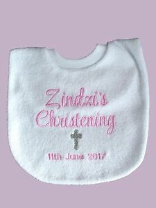 Personalised-Baby-Bib-Embroidered-GIFT-Baptism-Christening-Name-Day-Any-name