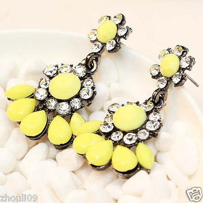 "fashion show Lady Statement clear crystal long Ear Studs earrings 1 1/2"" e279"