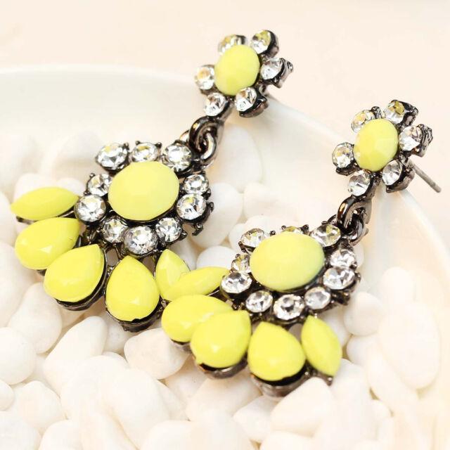 "Design elegant Statement clear crystal long Ear Studs earrings hot 1 1/2"" e279"