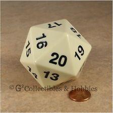 NEW 55mm Ivory Giant Jumbo Countdown D20 Dice MTG RPG Twenty Sided Die