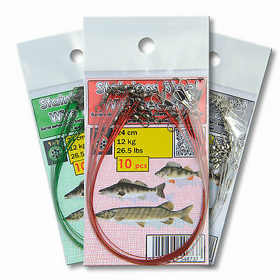 Wire Traces Leader 24cm 12kg 25lb Pike Perch Sea Fishing Tackle