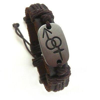 Pride Shack -Bisexual Pride Male & Female Symbol Brown Leather Bracelet Bi Pride