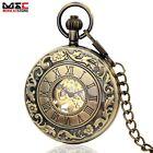 Antique Bronze Hollow Roman Numerals Skeleton Mechanical Hand Wind Pocket Watch