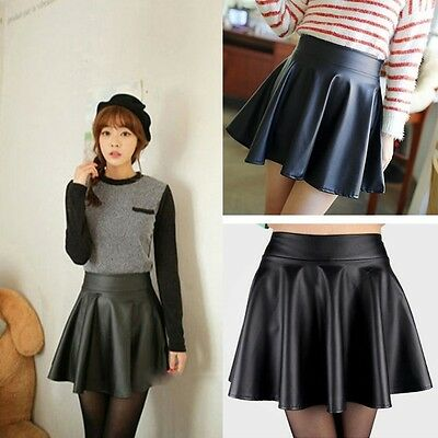 Sexy Women PU Leather Dress High Waist Skater Flared Pleated Short Mini Skirt