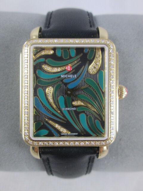 5478bf3210b MICHELE Deco II Bijoux Green Diamond Dial Gold Womens Watch Head -  MW06X01B0083